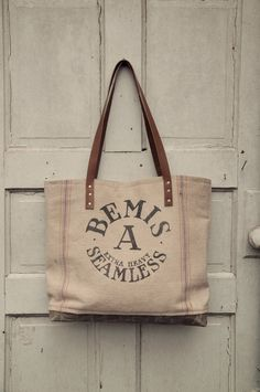 Vintage Bemis Seamless Feed Sack Waxed Canvas Tote from Hawks & Doves Waxed Canvas, Canvas Leather, Bourbon And Boots, Christmas Items, Christmas Crafts, Feed Sacks, Reusable Tote Bags, Handbags, Country Crafts