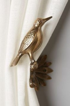 Gilded Aviary Tieback by Anthropologie in Brown, Hardware Easy Home Decor, Bird House Kits, Curtains, Home Accessories, Cheap Home Decor, Home Decor Accessories, Gilded, Kit Homes, Tieback