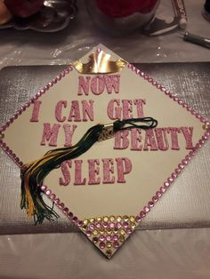 Grad cap bedazzled sleeping beauty