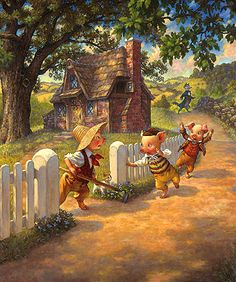 """Classic FAIRY TALES """"The Three Little Pigs"""" """"Drop the Hoe!"""" Drop the Hoe! Drop the Hoe Classic Fairy Tales by Scott Gustafson Oil on masonite panel. Image size:25"""" x 30."""""""