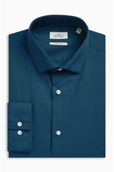 c3109635b244 Bleu sarcelle - Coupe slim à manchette simple - Chemise à repassage facile  (162772)
