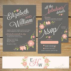 Floral Wedding Invitation Printable // Pink and by MyCrayonsDesign