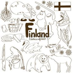 Fun sketch collection of Finland icons, countries alphabet Vector