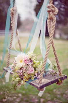 April- i wish we could use a swing! Adding ribbons to a swing. Something so simple can make for a great photo