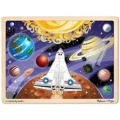 Space Voyage Wooden Tray Puzzle  by Melissa & Doug This is a beautifully-illustrated fine quality jigsaw puzzle!   Simple but challenging classic tray puzzl