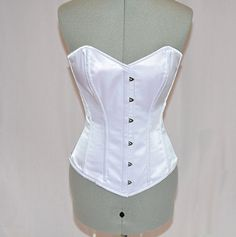 Classic satin overbust authentic corset with long by Corsettery