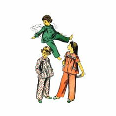 1940s Girls Two-Piece Pajamas Advance 4180 Vintage Sewing Pattern