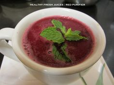 Delicious and Tangy Red Purifier - filled with the goodness of beets, tomatoes, cucumbers, lemon juice, ginger and fresh coriander. A great start to your day.
