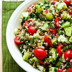 Recipe for Bulgar Salad with Tomatoes, Cucumbers, Parsley, Mint, and Lemon  [from KalynsKitchen.com]