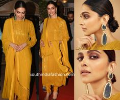 Deepika attended an event in Mumbai wearing a mustard yellow sequin embellished churidaar suit by Sabyasachi. She styled her look with a pair of statement emerald polki earrings, smokey eyes, nude lips and a sleek low bun! Dress Indian Style, Indian Fashion Dresses, Indian Wear, Mustard Yellow Outfit, Yellow Suit, Sabyasachi Gown, Shaadi Lehenga, Indian Wedding Outfits, Indian Outfits