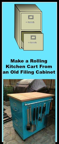 Make a Rolling Kitchen Cart From an Old Filing Cabinet. We've never met anyone who couldn't use more kitchen storage and counter space.