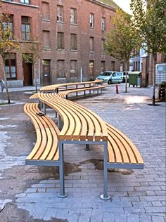 Picnic table with integral seating in Tournai, Belgium. Click image for full profile and visit the slowottawa.ca boards >> http://www.pinterest.com/slowottawa