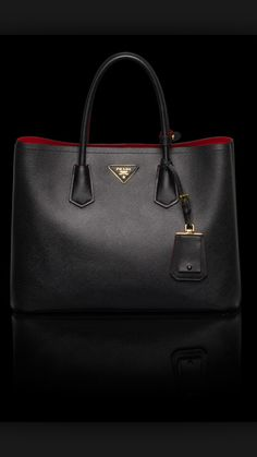8735ebfd8bbb Prada Saffiano Cuir Double Bag in Black Prada Handbags