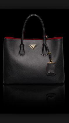 Prada Saffiano Cuir Double Bag in Black
