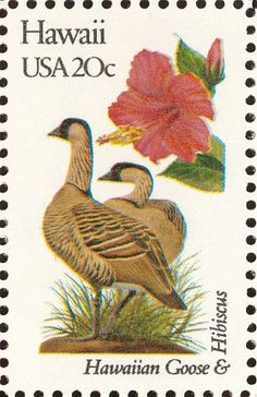 Hawaii State Bird and Flower 1982 USA Stamp