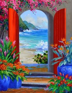 Mikki Senkarik, doorway to beautiful ocean view, like on vacation or living in Europe.