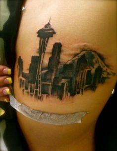 """""""Skyline is etched in my veins, you can't put that out no matter how hard it rain.""""- Macklemore  Seattle tatoo"""