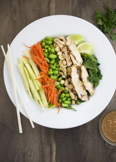 Thai Chicken Salad With Spicy Peanut Dressing. Loaded with vegetables and drizzled with a sweet and spicy Asian inspired dressing. | chefsavvy.com #recipe #salad #healthy