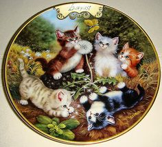 Timeless Tails 'Kittens in the Meadow' August - Jurgen Scholz I Love Cats, Cute Cats, Kittens Cutest, Cats And Kittens, Cat Cookie Jar, Decoupage Paper, All About Cats, Here Kitty Kitty, Art Sketchbook