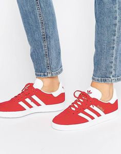 90a4c79f7df Image 1 of adidas Originals Red Suede Gazelle Trainers. Women Shoes Flats