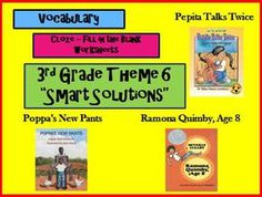 Cloze Worksheets for Houghton Mifflin Harcourt Third Grade Theme 6