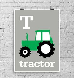 Cute green TRACTOR WALL art  print for kids by LouLoutePaperie, $14.00