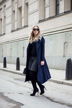 Linda Juhola, long blue coat with black over the knee boots. FewModa coat, All Saints top, Zara jeans, Ray Ban sunglasses, Louis Vuitton bag, Asos shoes