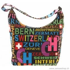 Tasche mit bunten Schriften, Baumwolle / Pocket with coloured writings, cotton /Creative and high-quality pockets for women. Pleasantly portable and ideal size. Zermatt, Writings, Pockets, Creative, Cotton, Women, Fashion, Moda, Women's