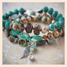 Peruvian amazonite, smoky quartz and rustic abalone.
