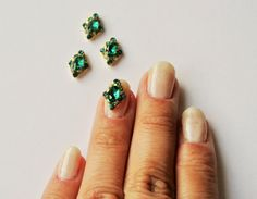 2 pc of green crystal nail charm by GlamourFavor on Etsy