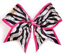 3 Wide Luxury Cheer Bow  Metallic Zebra w/Hot by bowswithattitude, $12.99