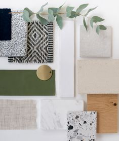 Interior design project by Studio Rey. Fresh and natural materiality, pops of colour and pattern Mood Board Interior, Interior Design Boards, Interior Design Studio, Moodboard Interior Design, Interior Design Presentation, Boutique Interior Design, Material Board, Design Palette, Colour Schemes