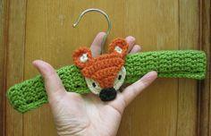 Ten Inch Baby Clothes Hanger/ Room Decor/Keepsake/Wood Hanger/Crochet Cover and Cute Applique Fox/. $8.00, via Etsy.