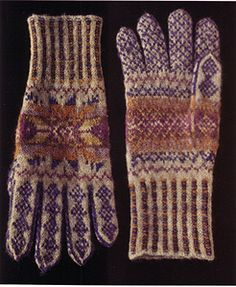 Alice Starmore Gloves from Fair Isle Knitting Crochet Gloves, Knit Mittens, Knit Crochet, Wrist Warmers, Hand Warmers, Fair Isle Knitting, Hand Knitting, Knitting Designs, Knitting Projects