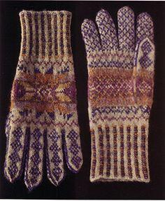 Alice Starmore Gloves from Fair Isle Knitting Crochet Gloves, Knit Mittens, Knit Crochet, Mittens Pattern, Wrist Warmers, Hand Warmers, Fair Isle Knitting, Hand Knitting, Knitting Designs