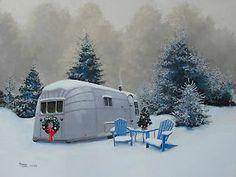 christmas vintage trailers art   Vintage 1957 Airstream Overlander  snow tree wreath