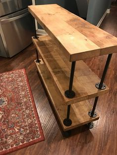 Barn Wood 3 Tier Sofa Table To replace shelf by desk Pipe Furniture, Industrial Furniture, Rustic Furniture, Furniture Makeover, Living Room Furniture, Furniture Design, Furniture Ideas, Industrial Pipe, Modern Furniture