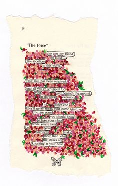 """The price""- Painted this on a page from a poetry book. By myself Brooklyn Watt."
