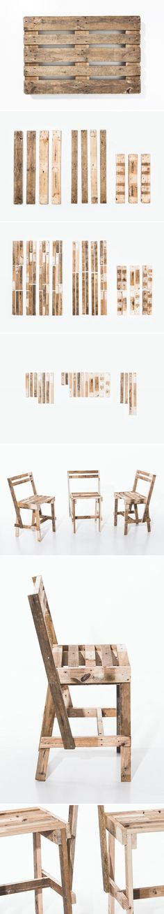 Upcycling : 1 Pallet = 3 Chairs