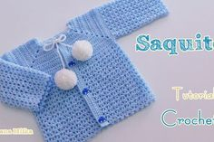Cómo tejer un saco, crochet paso a paso, gancho. Crochet Picot Edging, Crochet Mitts, Crochet Stitches, Crochet Patterns, Crochet Baby Jacket, Crochet Cardigan, Sweater Cardigan, Baby Cardigan, Crochet Round