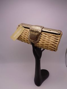 cf3b5531b30bbd MICHAEL KORS Gold Leather PADLOCK SANTORINI CLUTCH RATTAN WICKER NWT REG  268… Designer Taschen,