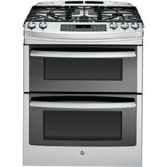 GE Profile 6.7 cu. ft. Slide-In Double Oven Gas Range with Self-Cleaning Convection Oven in Stainless Steel-PGS950SEFSS at The Home Depot