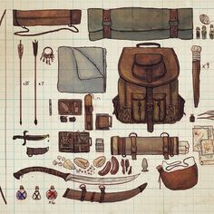 Drew out my dnd character Anders' inventory this morning. Character Concept, Character Art, Concept Art, Dnd Characters, Fantasy Characters, Prop Design, Fantasy Weapons, Character Outfits, Character Inspiration