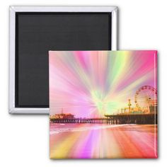 Santa Monica Pier Pink Explosion Refrigerator Magnets #sold on #zazzle