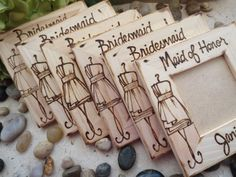 Cute gift for bridesmaids:  include a photo of the two of you together. It also features YOUR bridesmaid dress, custom-engraved! | http://emmalinebride.com/bridesmaids/bridesmaid-photo-frames/