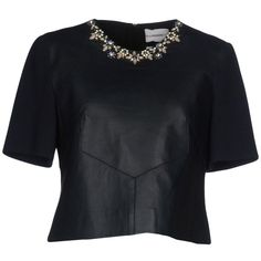 Erdem Blouse (19 035 UAH) ❤ liked on Polyvore featuring tops, blouses, blusas, shirts, dark blue, dark blue shirt, short sleeve shirts, round collar blouse, short sleeve blouse and shirt top