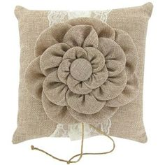 Natural Burlap Flower Ring Pillow