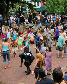 Drum Circle Friday, every Friday night in Pritchard Park downtown on Patton Avenue at College Street.