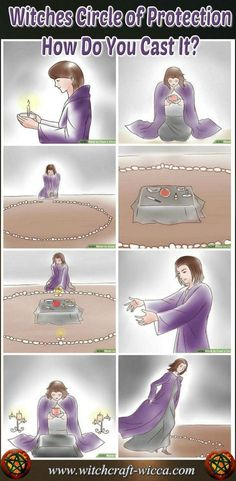 Circle of Protection-How to Cast your space The Witches Circle of Protection marks the perimeter of your sacred space where you will perform your candle magic. Circle acts as a protection from evil forces via Healing Spells, Magick Spells, Candle Spells, Candle Magic, White Magic Spells, Wiccan Magic, Spells For Beginners, Witchcraft For Beginners, Witchcraft Books
