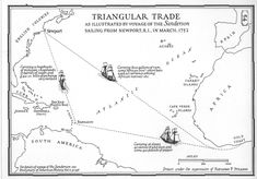 Triangular trade: The african slave trade  formed one part of a three legged trade network known as the triangular trade.